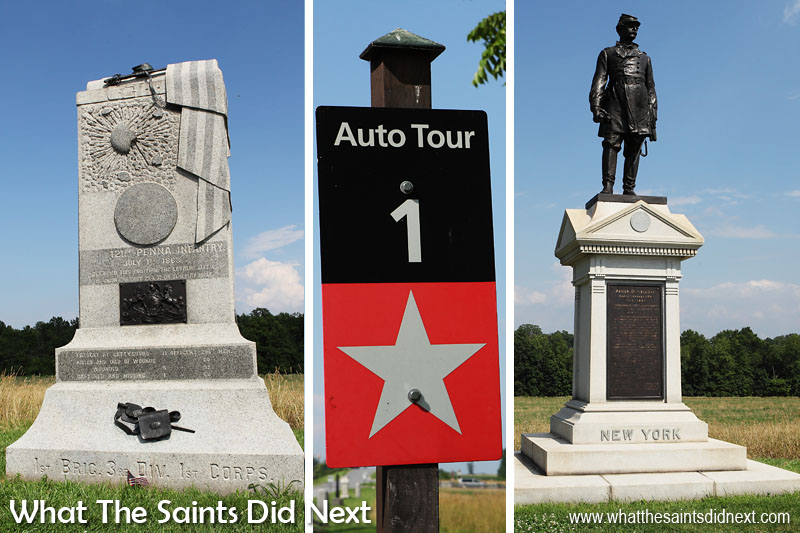 Some of the more elaborate monuments along the auto tour route in the Gettysburg Battlefield.