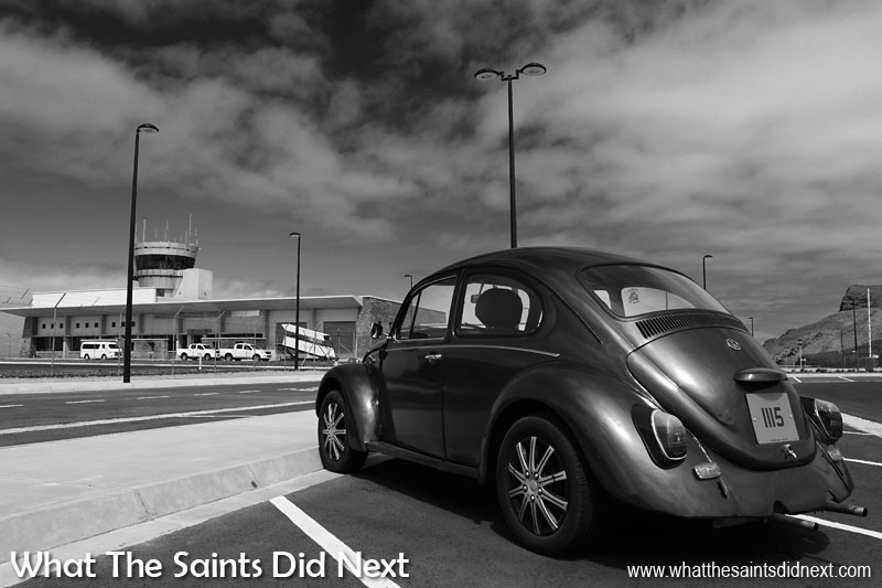 Ideal conditions for black and white photography at the St Helena Airport. Repeat patterns of the car park lines, a deep blue sky with plenty of cloud textures, midday sunlight throwing sharp shadows and the beautiful curves of this VW Beetle. The trick with black & white photography is to recognise the conditions in colour (which is how our eyes we see the world) which translate well when colour is removed.