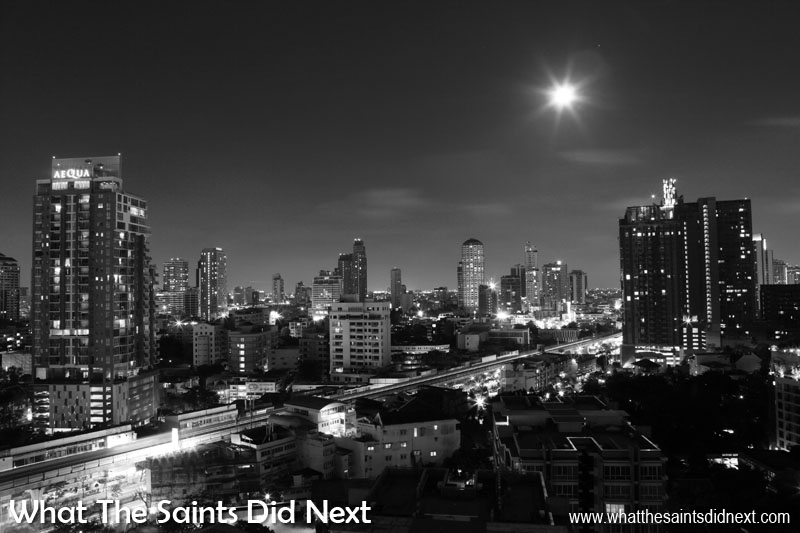 A night time cityscape of Bangkok, in Thailand. The intricate patterns of shadow and light makes this cityscape work well in black and white.