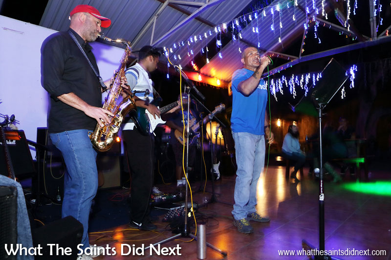 Friday night music entertainment by the Big Easy band, at the Mule Yard bar on the sea front. Jamestown is the hub of much of St Helena's after dark recreation with a selection of pubs and bars in the lower part of the town.
