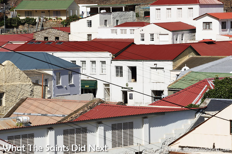 A view across the red roof tops of St Helena's capital, Jamestown.