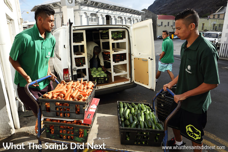 Vegetable day at Thorpe's Grocery store in Jamestown. Fresh produce from the country is delivered and taken to the shelves for eager customers.