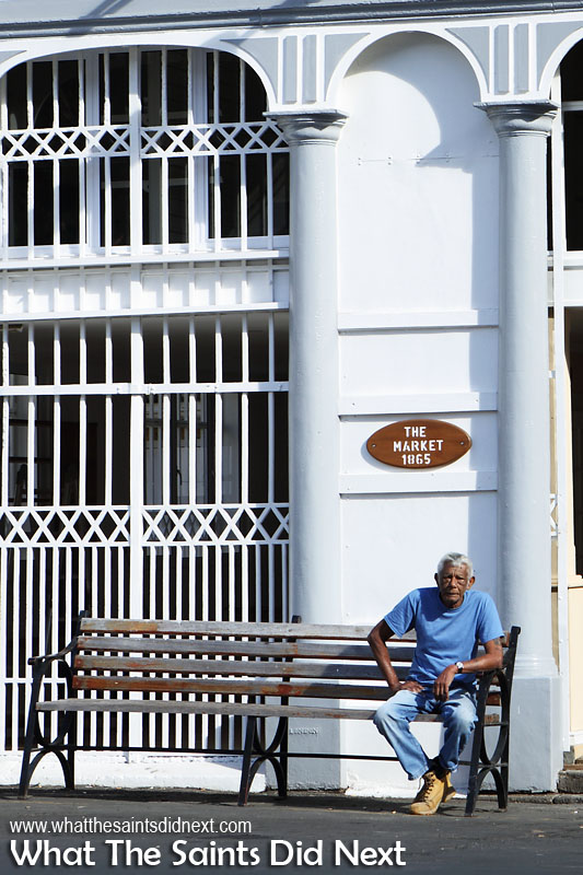 Having a rest outside the Market building in Jamestown.