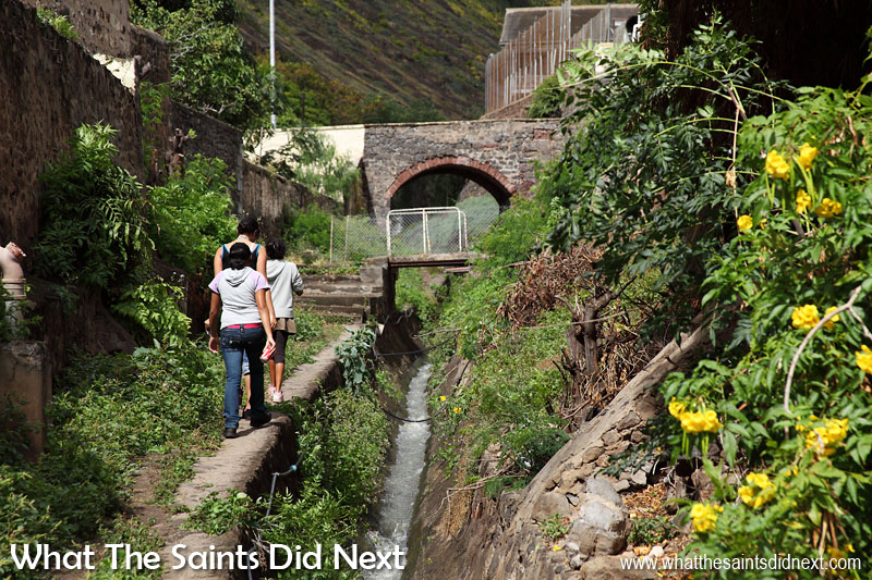 'The Run' hidden away behind the street front property but running the full length of Jamestown, through the valley. The water flow is most plentiful during periods of heavy rain on St Helena.