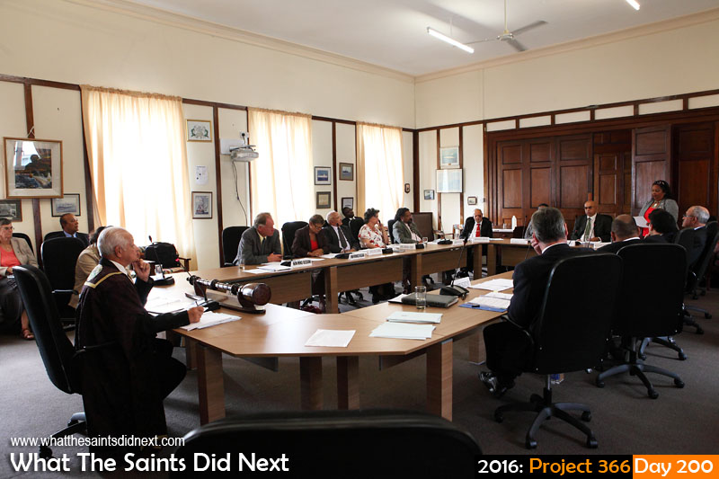 'Plagiarism' 18 July 2016, 15:15 - 1/80, f/6.3, ISO-1000 What The Saints Did Next - 2016 Project 366 Formal sitting of St Helena's Legislative Council, in council chambers at The Castle.