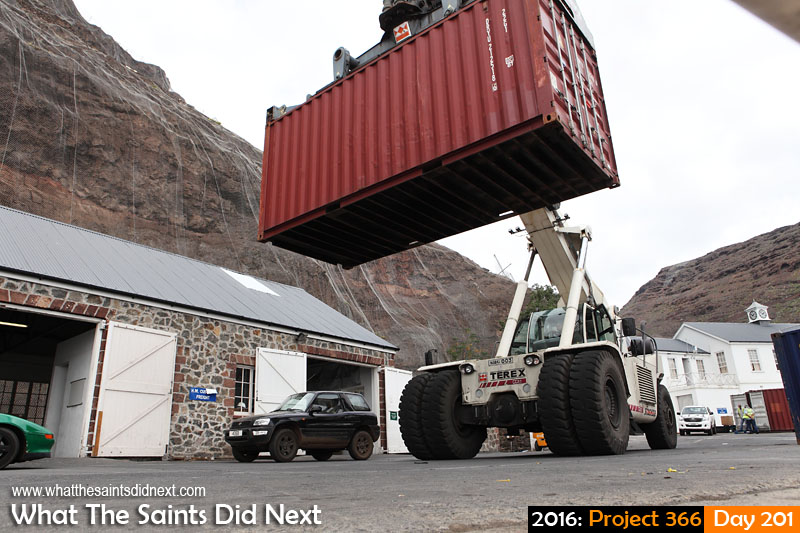 'First Monster' 19 July 2016, 13:59 - 1/250, f/10, ISO-200 What The Saints Did Next - 2016 Project 366 TEREX, reach stacker, moving shipping containers on the Jamestown wharf, St Helena.
