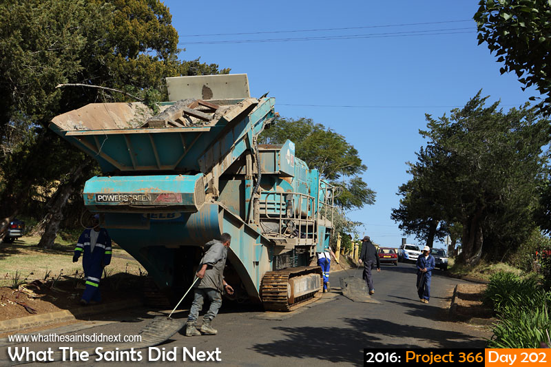 'Thigh fat' 20 July 2016, 10:26 - 1/400, f/8, ISO-200 What The Saints Did Next - 2016 Project 366 Stone crusher being moved through Longwood Avenue on its way to Horse Pasture.
