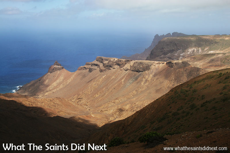 Hiking the Barn you are rewarded with amazing views down over the volcanic coastline of St Helena. The distinctive peak of Turks Cap can be seen at the end of this valley, and to the far right is the towers of King and Queen Rock and Prosperous Bay House.