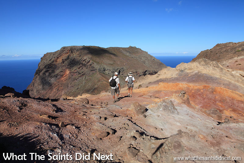 One of our earlier attempts at hiking the Barn on St Helena, a few years back. It's hard to believe looking at this, but the weather turned quite suddenly soon afterwards causing us to abandon the hike and turn back. The coloured soil landscape along this part of the walk is quite beautiful in the sunshine.