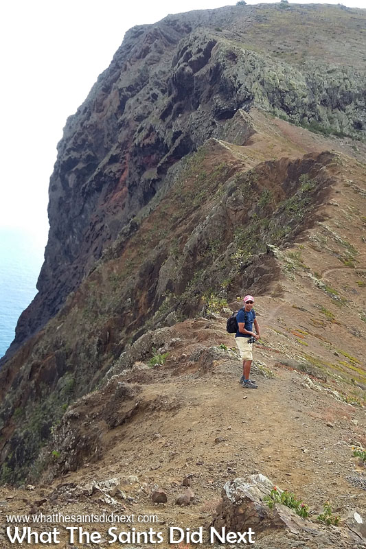 I'm nearly at the bottom of the knife edge, at the point where the path veers off to the right, around to the base of the Barn. This is a good angle to view how steep and extreme the seaward cliff face of the Barn on St Helena is.