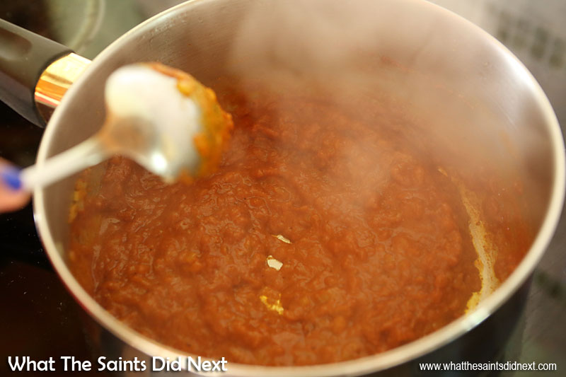 Making St Helena plo. Add 4 tablespoons water to the mixture, stir and reduce to thicken the sauce.