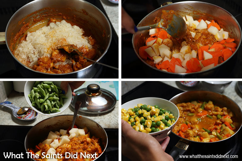 Making St Helena plo. Stir in the rice, vegetables, salt, and garlic and add enough water to cover all ingredients.