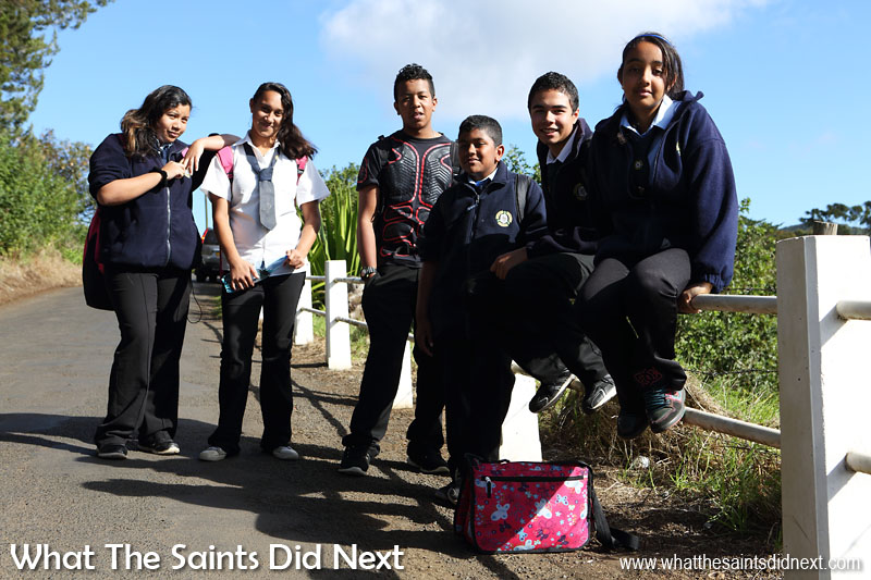 Prince Andrew School students homeward bound after a long day in the classroom. There are 790 people (17% of island's pop.) living in Longwood, as per the 2016 St Helena Census report.