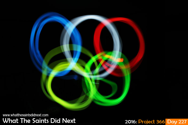 'All square' 14 August 2016, 21:40 - 91sec, f14, ISO-200 What The Saints Did Next - 2016 Project 366 Light painting in one take of Olympic rings, inspired by Rio 2016.