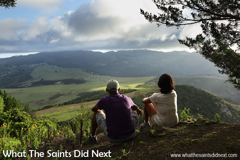 My first submission for World Photo Day - the two of us (What The Saints Did Next) after a hike to the top of Flagstaff, enjoying the view over St Helena before the walk back down.