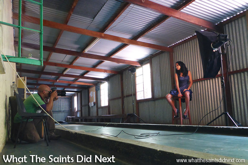 Behind the scenes on the Blue Hill photoshoot with What The Saints Did Next.