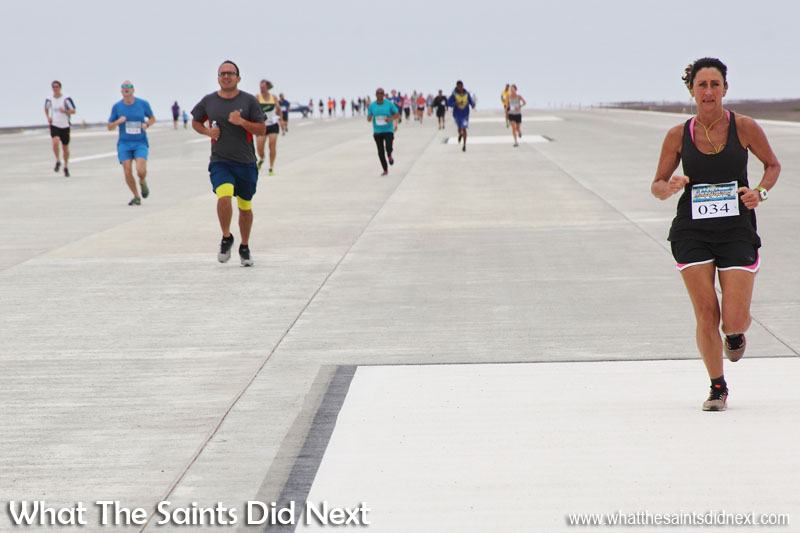 Megan Vass (right) first lady to complete St Helena Airport's runway dash in 13 min 46 sec.