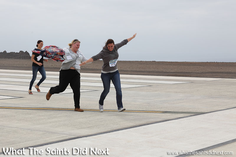 Flying over the finish line at St Helena Airport's first ever runway dash.