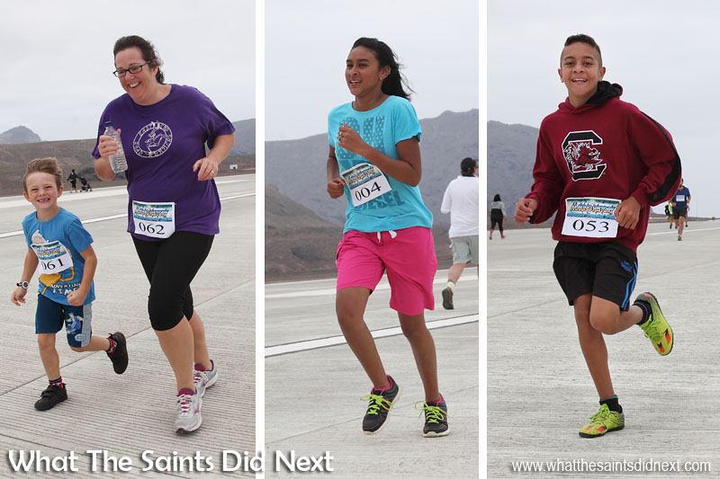 First Prince Andrew School Girl over the line, Danielle Benjamin (middle) in 18 min. First Primary School student, Aiden Yon-Stevens (right) in 15 min 14 sec. St Helena Airport's first ever runway dash.