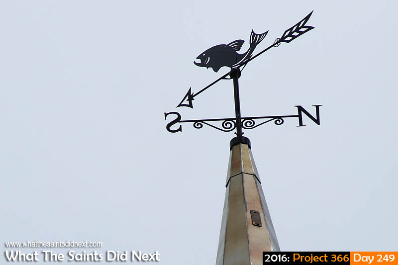 'Let's do this' 5 September 2016, 10:54 - 1/800, f8, ISO-200 What The Saints Did Next - 2016 Project 366 Weather vane on the new spire erected yesterday on St James' Church in Jamestown, St Helena.
