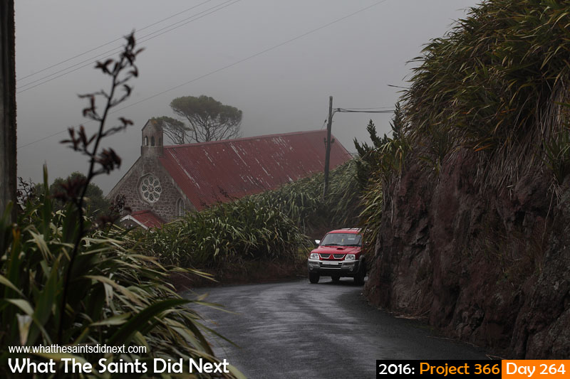 'Health of the family' 20 September 2016, 16:32 - 1/200, f8, ISO-200 What The Saints Did Next - 2016 Project 366 Rain and fog over St Matthew's Church, Hutts Gate, St Helena.