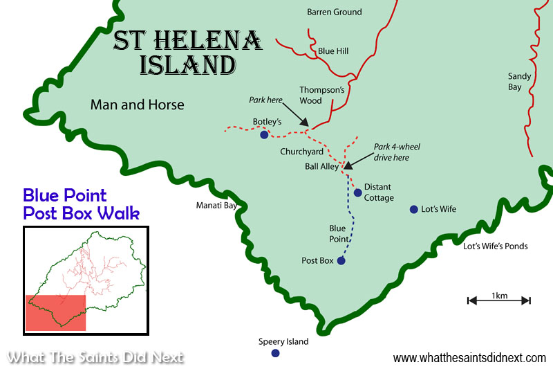 St Helena map showing the Blue Point Post Box walk.  The red dotted lines show tracks suitable for off-road vehicles. The blue dotted line is a footpath only.