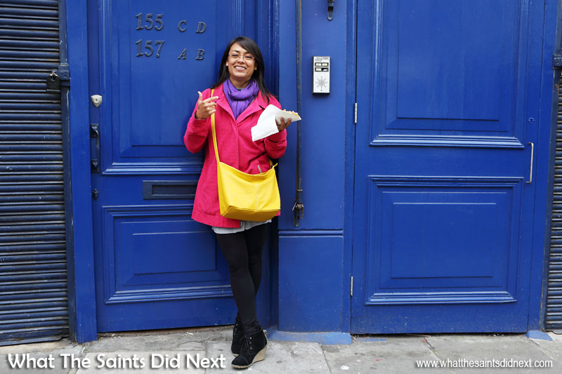 Once you begin to be more aware of colours around you then ideas for creative photography kick in. These blue doors along Portobello Road, London, needed a little contrast to set them off and Sharon had obviously gotten the 'wear colour' memo that morning! Pink, yellow, purple and blue - not holding anything back with this one. Colour photography tips.