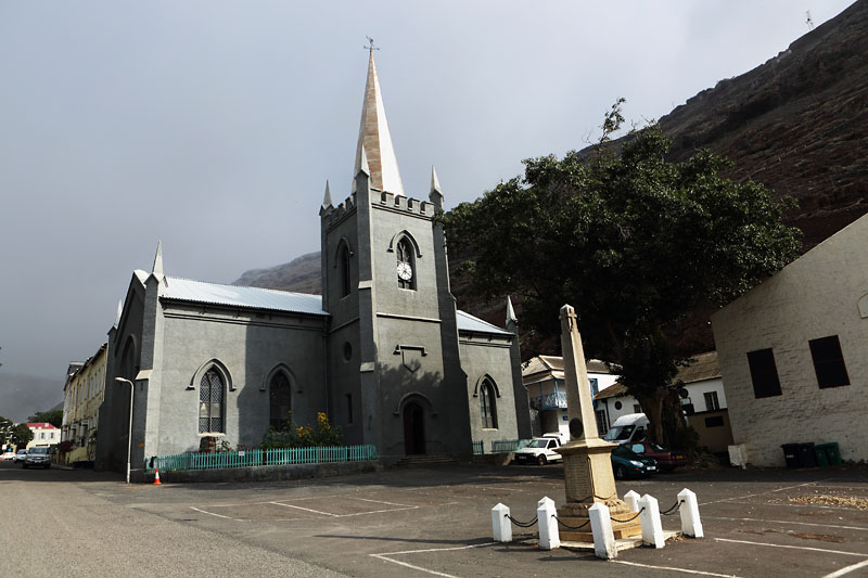The new and the old. St James Church in September 2016 with the new spire erected earlier that same month. Much lighter at 5.5 tonnes, made of steel and shorter (15m) than the original, this brand new addition now sits on top of the oldest Anglican church in the southern hemisphere. St James Church clock tower, Jamestown, St Helena.