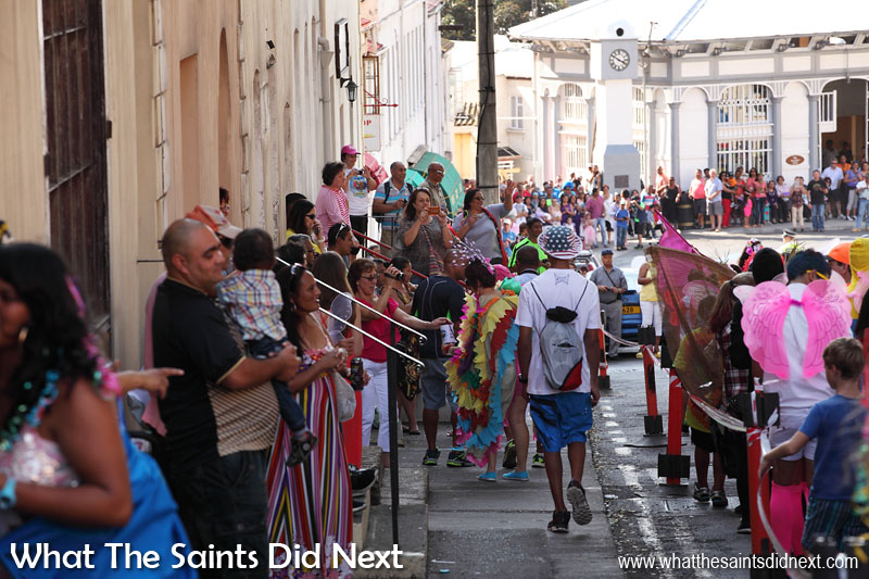 Spectators lining the route through Jamestown to see Carnival 2016, raising funds for St Helena charity, Cancer Support and Awareness.