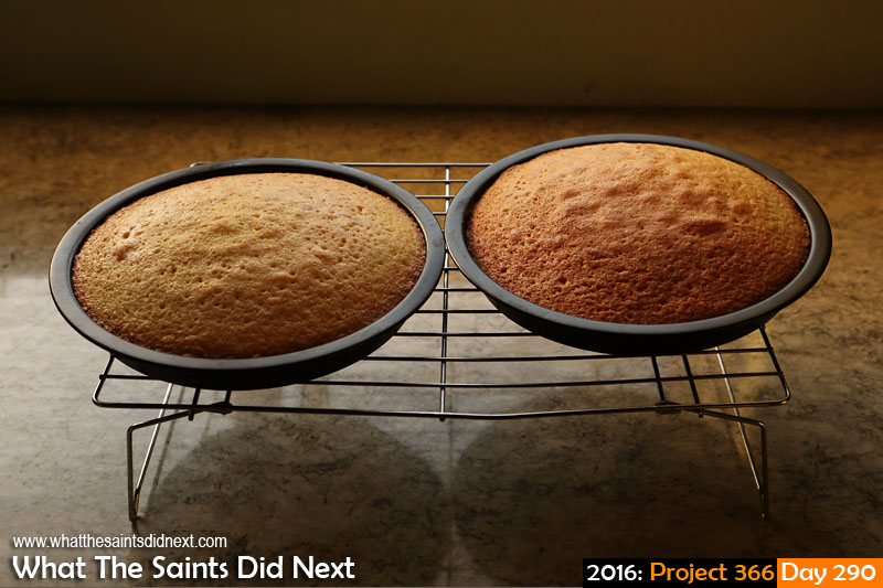 'Rigged' 16 October 2016, 17:57 - 1/100, f8, ISO-400 What The Saints Did Next - 2016 Project 366 Fresh cakes cooling.
