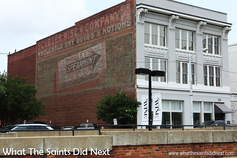 Scheuer Wise & Company.  Wholesale dry goods and notions.  Wigleys Spearmint Pepsin Gum - buy it by the box.   Montgomery, Alabama.  End of Commerce Street. Although Wigleys gum is still going strong, the same cannot be said of Scheuer Wise & Co.  Spearmint came on the market in 1893 and the 'Pepsim Gum' packaging dates this ghost sign between 1893 to 1913.   The gum was originally marketed as a free give-away with the purchase of baking soda.  It became so popular it was eventually sold in its own right.