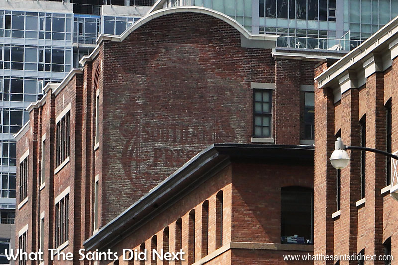 Southam Press.  Duncan Street, Toronto, Canada.  Admittedly I missed this ad in real life and only discovered it after reviewing our photographs. This ghost sign was painted around 1909 by the Southam Press, a news conglomerate created by William Southam who began his career as a delivery boy for the London Free Press.