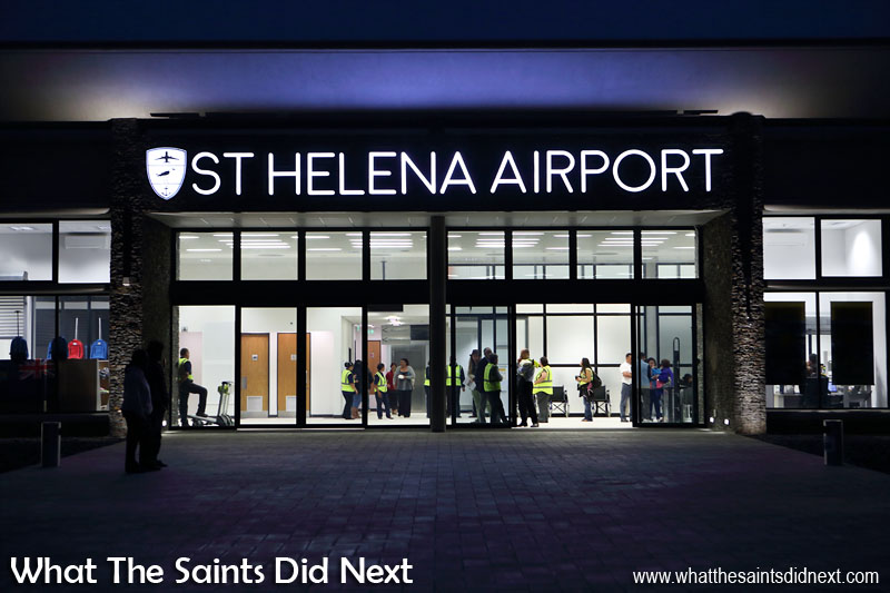 St Helena Airport already in darkness after Atlantic Star Airlines arrival. Many members of the public came out in the late afternoon to view the aircraft from the viewing platform.