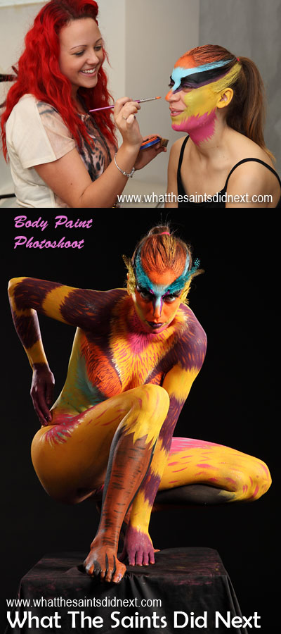 This was a collaboration of art styles - body painting, modelling, acting and photography. The artist with the brush was Sarah, the model and canvas was Nerea.  International Artist Day 2016.