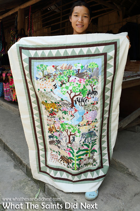 Yet another form of artwork - handmade quilt at the Bann Tong Luang, eco-agricultural village in Thailand. A work of art by these talented ladies. International Artist Day 2016.