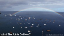 A February morning rainbow over the Jamestown anchorage in St Helena.