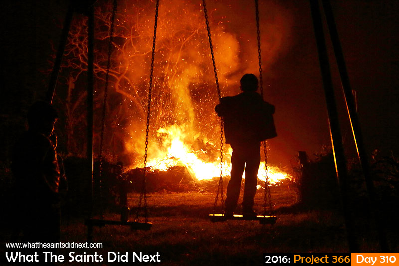 'Whose streets?' 5 November 2016, 21:33 - 1/60, f2.8, ISO-800 What The Saints Did Next - 2016 Project 366 Bonfire night celebrated in Sandy Bay, St Helena, with Guy Fawkes effigies thrown on the blaze.