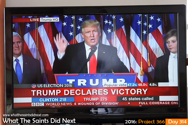 'Red state' 9 November 2016, 08:05 - 1/60, f5, ISO-400 What The Saints Did Next - 2016 Project 366 BBC World live TV coverage of US Presidential election as Donald Trump wins race to the White House.