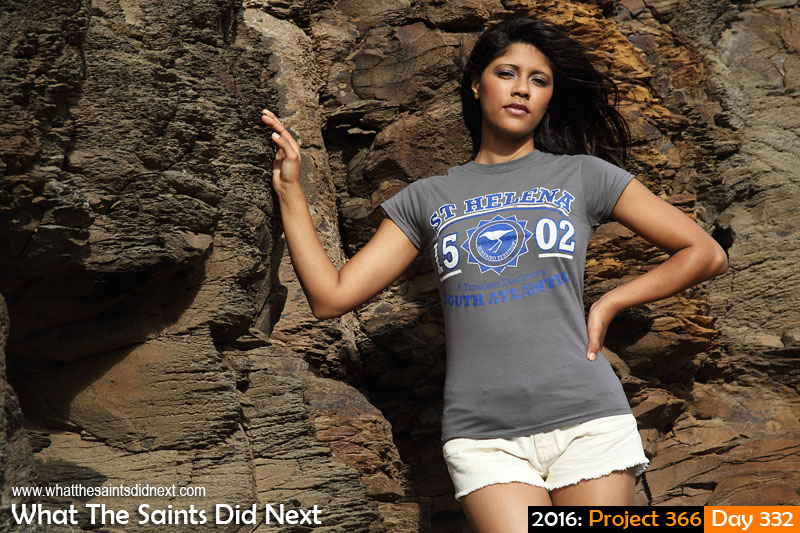 'Rosberg' 27 November 2016, 17:05 - 1/320, f8, ISO-200 What The Saints Did Next - 2016 Project 366 Imogen Henry modelling a St Helena souvenir t-shirt.