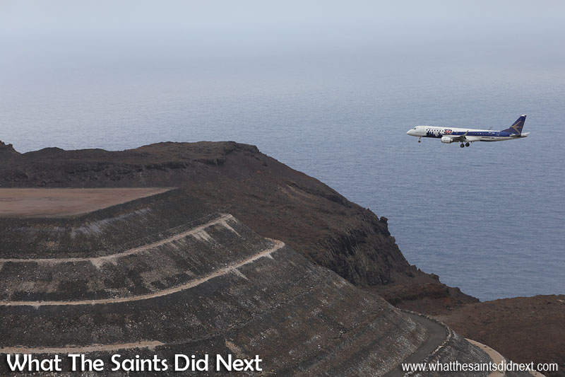 Embraer Trial Flight to St Helena. Tail wind approach for the Embraer ERJ-190-100, the 'Empress of London City' at St Helena Airport, runway 02.