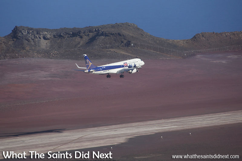 Embraer E190 St Helena Airport flight trials. Thursday 1 December 2016 - the Embraer E190 making one of a number of slow, low level passes over runway 20, collecting wind/weather data.
