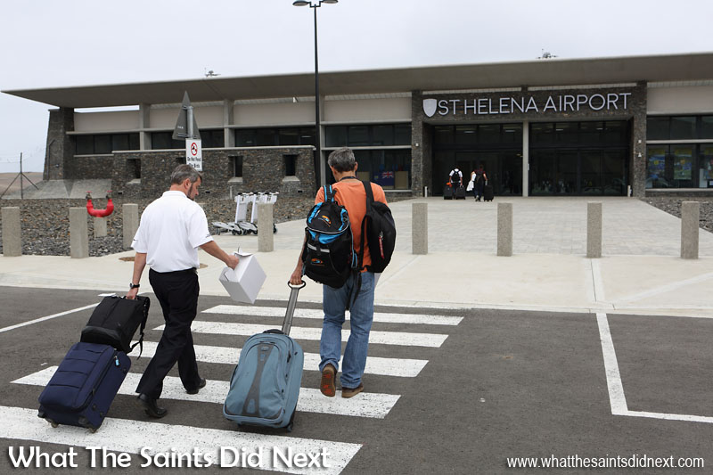 Embraer E190 St Helena Airport flight trials. Departure day - the Embraer team make their way to the terminal.