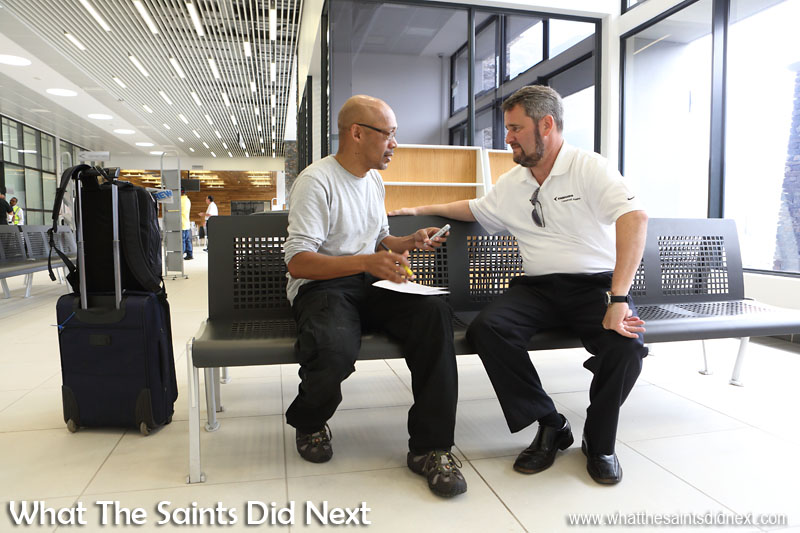 Embraer E190 St Helena Airport flight trials. Inside the terminal, interviewing Captain Joel Faermann from the Embraer team who reported positive results from their flight tests.