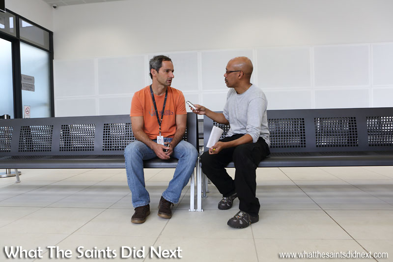 Embraer E190 St Helena Airport flight trials. Inside the terminal, interviewing Embraer Flight Test Engineer, Celso Mendonca.