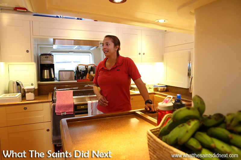 As first mate and also cook, Cheryl is kept very busy. The 'Louise' kitchen is rather nice, bigger than you might expect to find on a yacht.