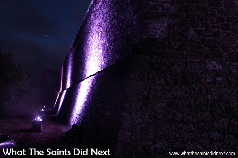 The 22 LED lighting strips are mounted on specially built stone plinths, shining up onto the old fortifications. Lighting High Knoll Fort, St Helena.