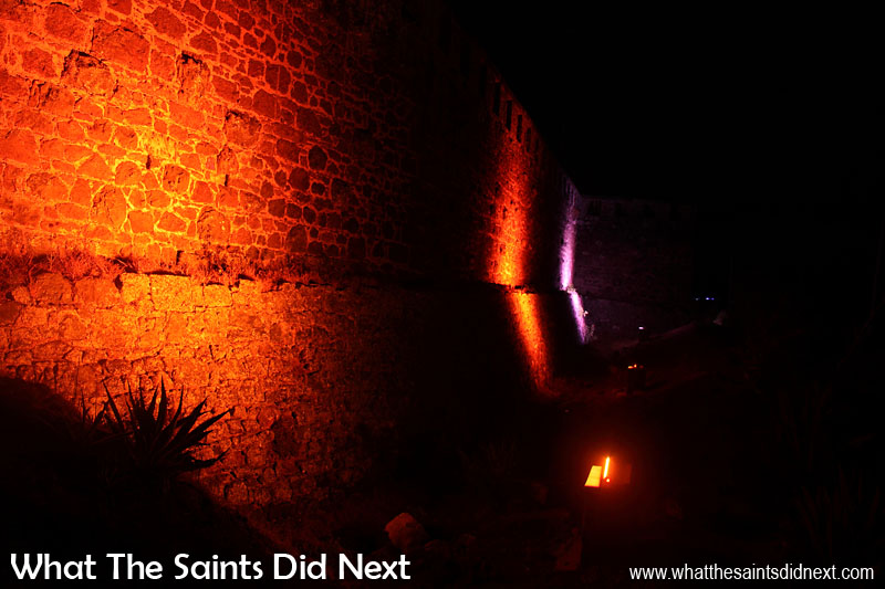 The lights automatically change colours as they shine up onto the old stone walls.  Lighting High Knoll Fort, St Helena.