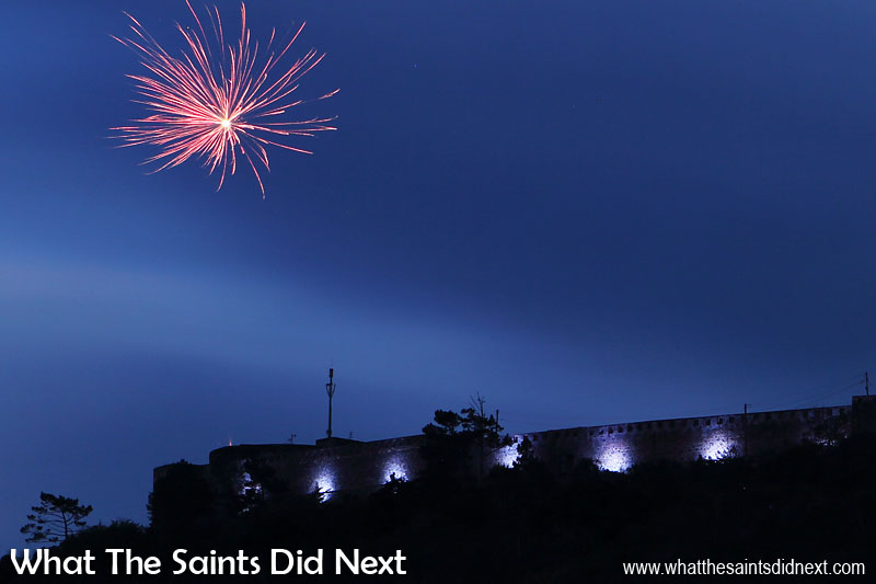 Firewoks to mark the official switching on night.  Lighting High Knoll Fort, St Helena.