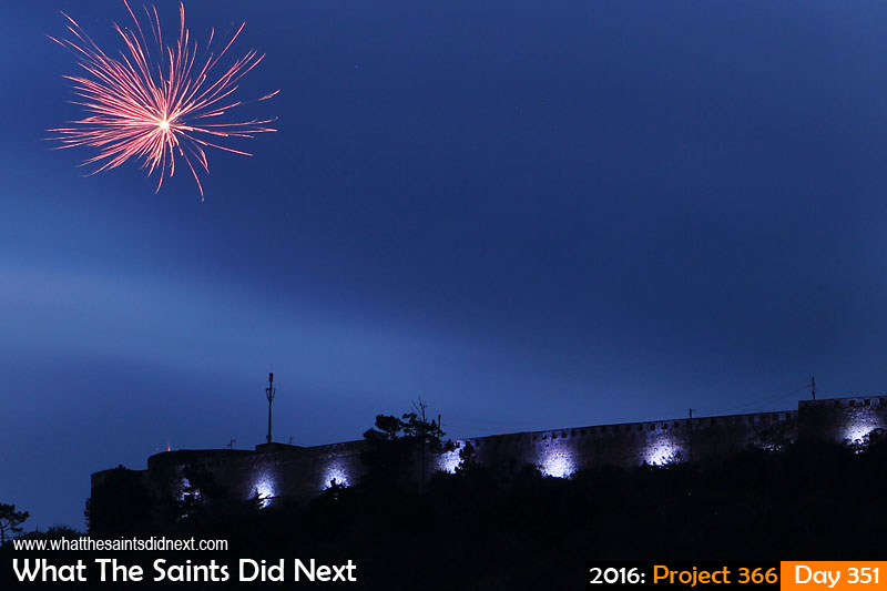 'Action man' 16 December 2016, 19:25 - 30sec, f8, ISO-100 What The Saints Did Next - 2016 Project 366 New floodlights turned on for first time on High Knoll Fort, marked with fireworks display.
