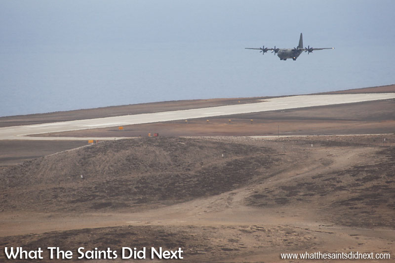 Making a low pass over St Helena Airport using the southern, runway 02 approach. RAF, C-130J Hercules at St Helena Airport.
